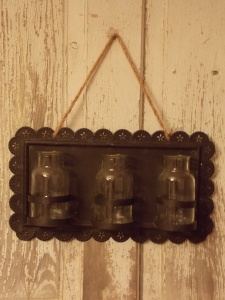 Black, metal distressed plaque w/ 3 glass bottles has sooo many possibilities