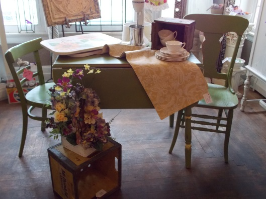 Just in time for spring!  Green drop leaf table was $195...now $95, Chairs were $42 each, now $25 each